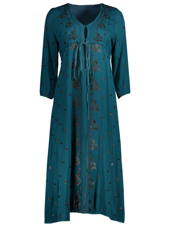 womens Embroidered Empire Waist Boho Dress - PEACOCK BLUE S