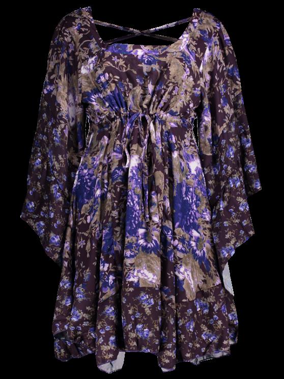 women's Tiny Floral Empire Waist Mini Dress - PURPLE S