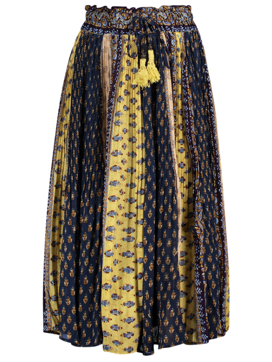 shops Tiny Floral Midi Boho Skirt - BLUE AND YELLOW ONE SIZE(FIT SIZE XS TO M)