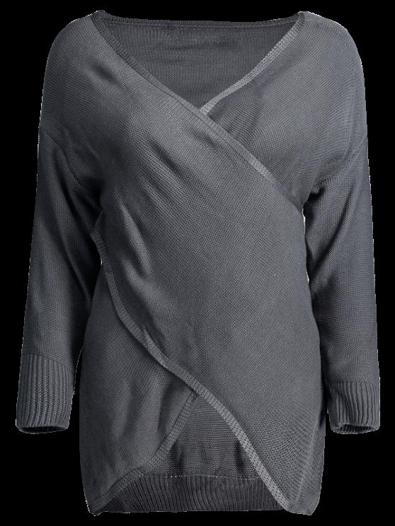 unique Crossover Pullover Sweater - DEEP GRAY M