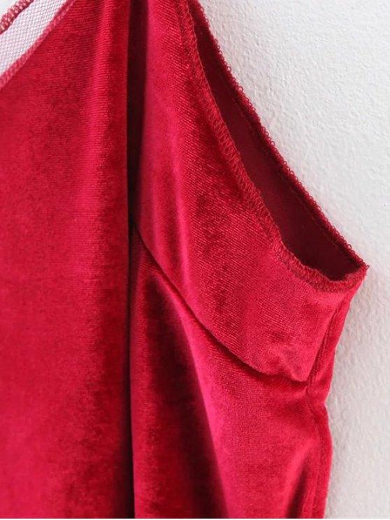 Slit Cami Velvet Tank Top - RED M Mobile