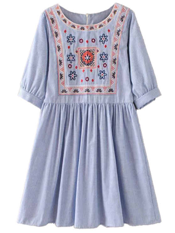 Striped Embroidered Smock Mini Dress - LIGHT BLUE S Mobile
