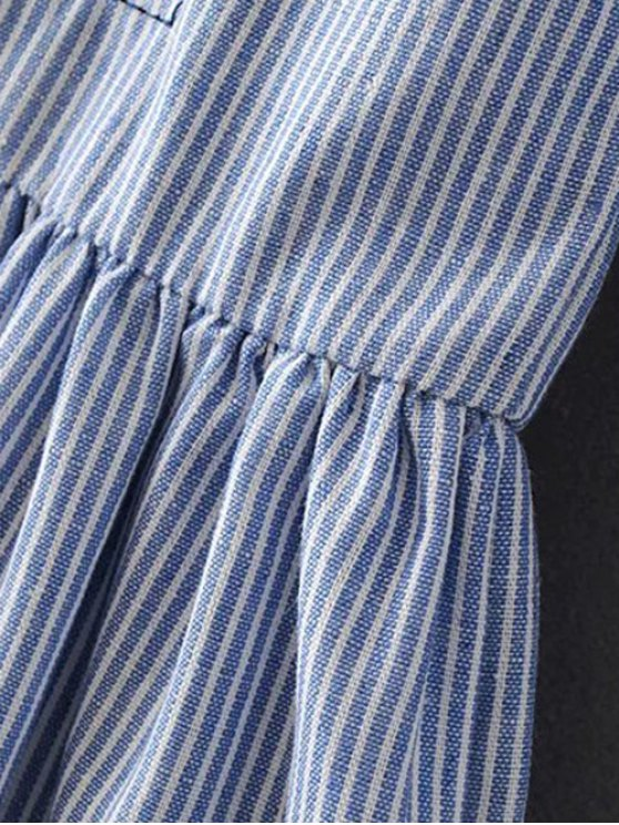 Striped Embroidered Smock Mini Dress - LIGHT BLUE L Mobile