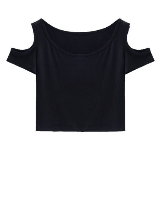Cold Shoulder Crop Tee - BLACK M Mobile