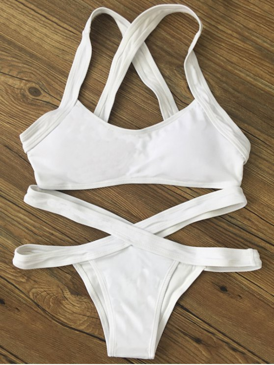 Color Block Banded Swimsuit - WHITE XL Mobile