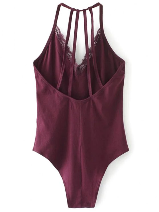 V Neck Strappy Lace Panel Bodysuit - WINE RED S Mobile