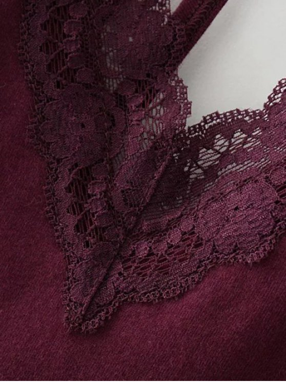 V Neck Strappy Lace Panel Bodysuit - WINE RED S Mobile