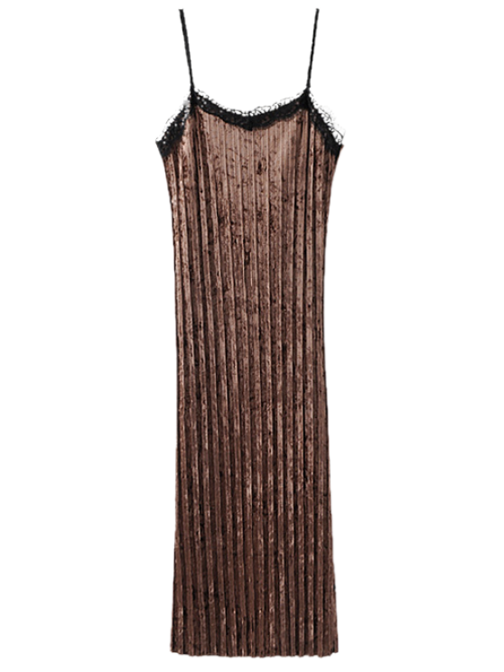Spaghetti Strap Pleated Lace Velvet Slip Dress - COFFEE S Mobile