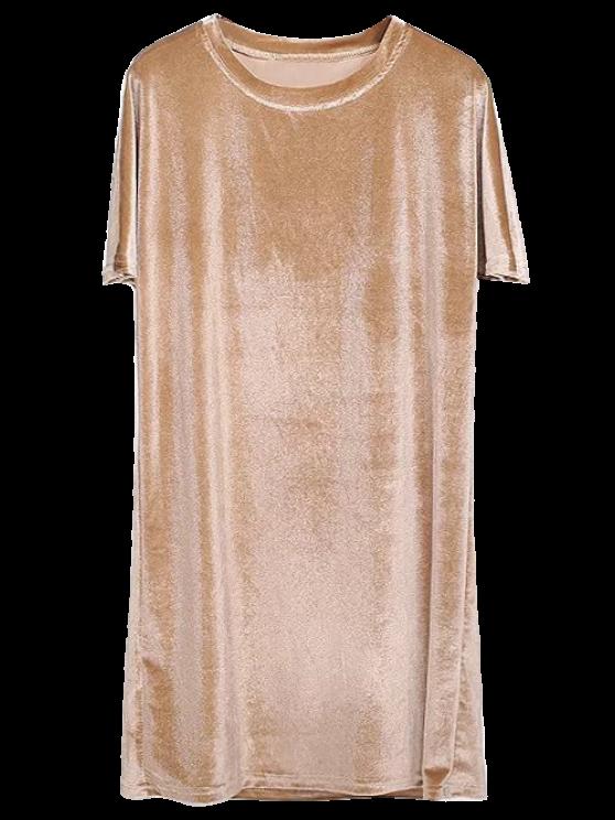 shop Velvet Mini Shift Layering Dress - GOLDEN ONE SIZE