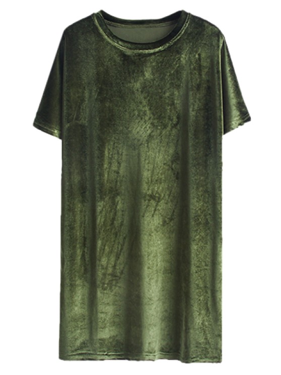 outfit Velvet Mini Shift Layering Dress - ARMY GREEN ONE SIZE