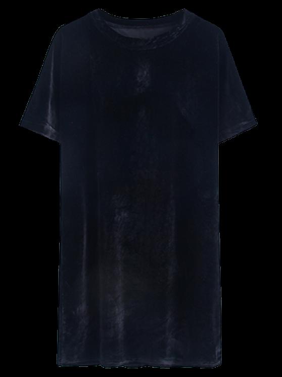 hot Velvet Mini Shift Layering Dress - BLACK ONE SIZE
