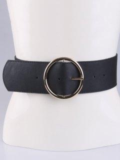 Round Pin Buckle Elastic Wide Belt - Black