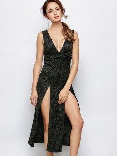 Low Cut Lace Plunge Empire Waist Prom Dress - Black Xl