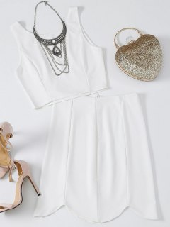Fitted Crop Top And Scalloped Skirt - White S