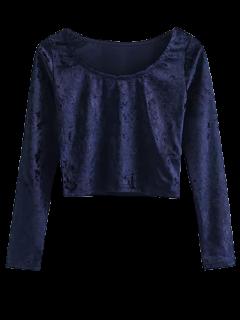 T-shirt écourté En Velours A Encolure    - Bleu Cadette S