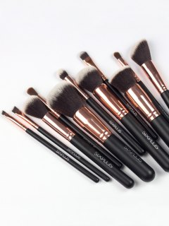 11 Pcs Nylon Makeup Brushes Kit - Deep Brown
