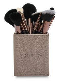 15 Pcs Makeup Brushes Kit - Coffee