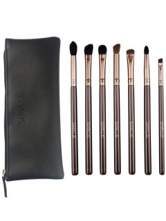 7 Pcs Eye Makeup Brushes Kit - Coffee