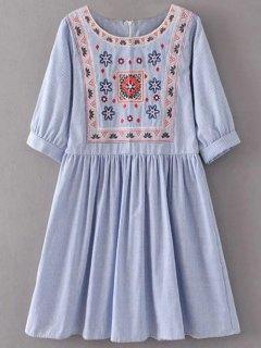 Robe Blouse Mini Rayée Avec Broderies - Bleu Clair L