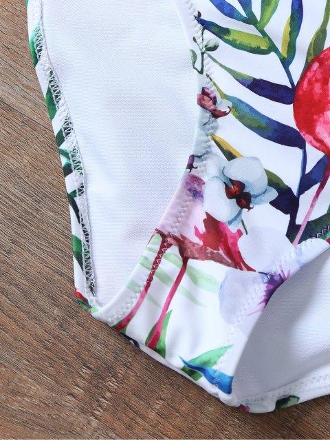 lady Padded Push Up Printed High Waisted Bikini Set - WHITE S Mobile