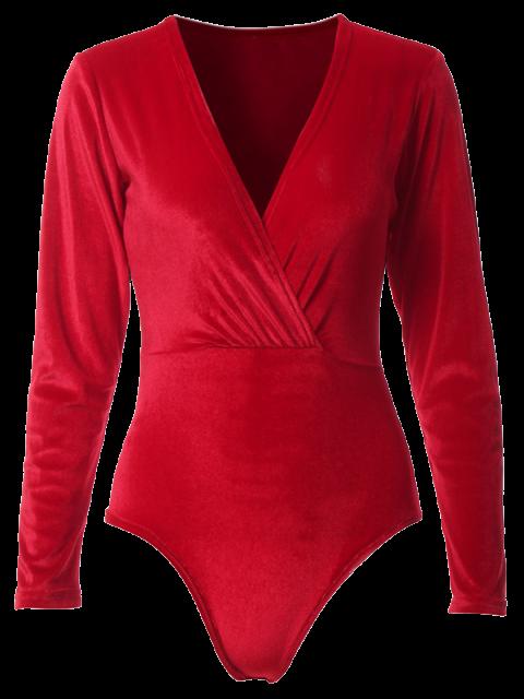 affordable Long Sleeve Velvet Bodysuit - RED M Mobile