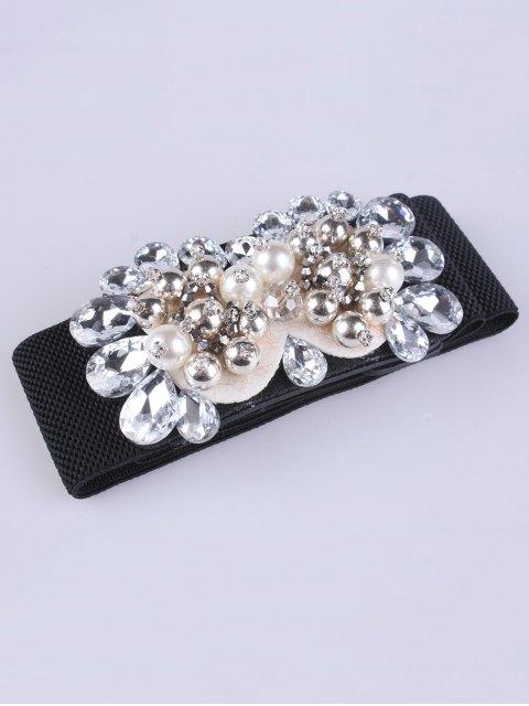 women's Rhinestones Faux Pearl Elastic Waist Belt -   Mobile