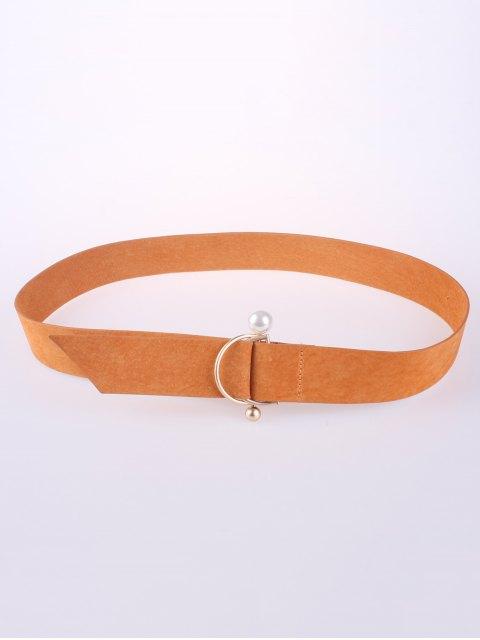 online D Buckle Faux Suede Waist Belt - ORANGE  Mobile