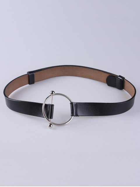 outfit Round Buckle Faux Leather Wide Belt - BLACK  Mobile
