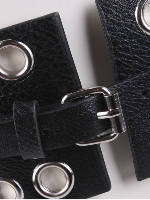 outfits Hollow Studs PU Leather Wide Belt - BLACK  Mobile