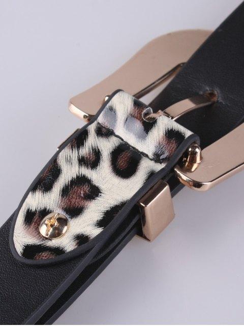 shop Double Buckles Leopard Pattern Wide Belt - WHITE  Mobile