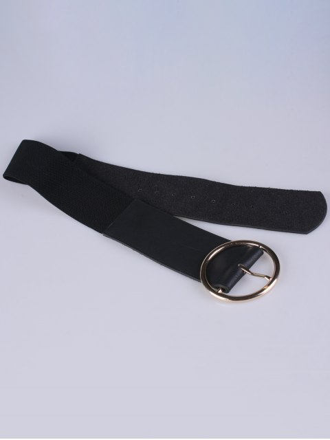 shops Round Pin Buckle Elastic Wide Belt - BLACK  Mobile
