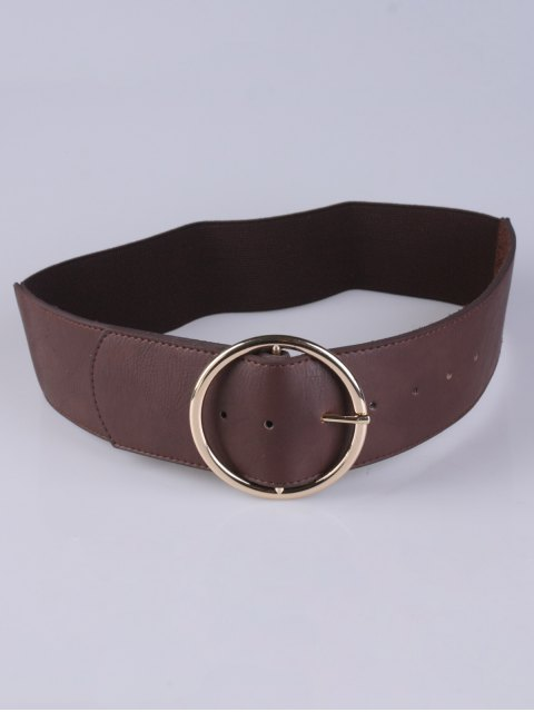latest Round Pin Buckle Elastic Wide Belt - COFFEE  Mobile