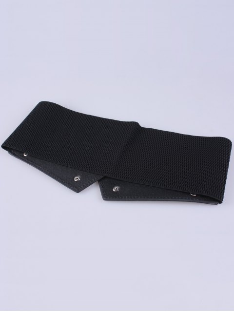 trendy Metal Chains Elastic Wide Belt - BLACK  Mobile
