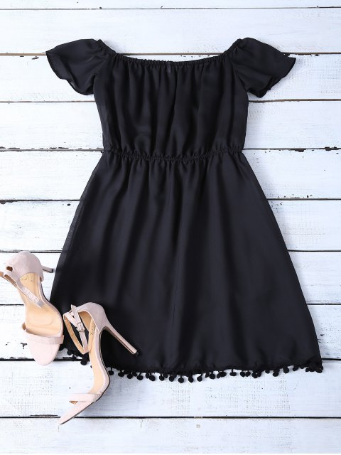 unique Ruffles Mini Off The Shoulder Dress - BLACK L Mobile