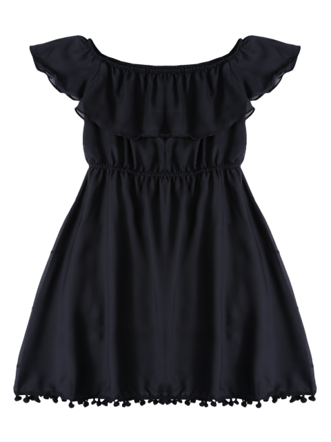 affordable Ruffles Mini Off The Shoulder Dress - BLACK S Mobile