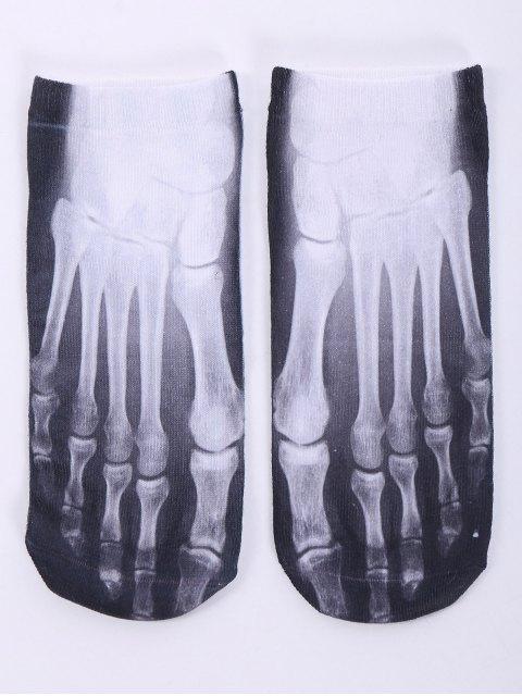 ladies One Side 3D Foot Skeleton Printed Crazy Ankle Socks - WHITE  Mobile
