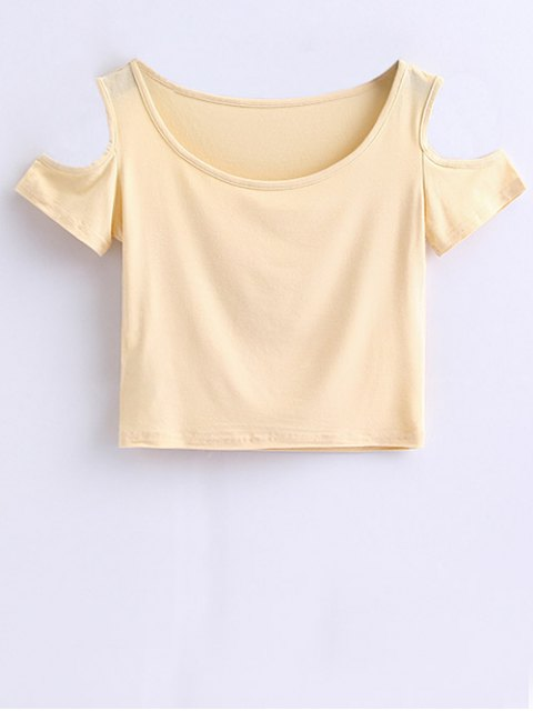 ladies Cold Shoulder Crop Tee - APRICOT S Mobile