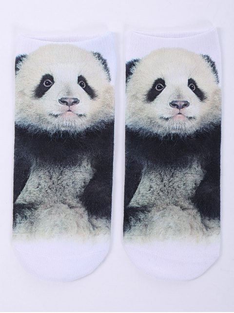 outfit One Side 3D Panda Baby Printed Crazy Ankle Socks - WHITE  Mobile