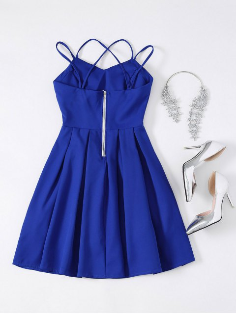 womens Flared Mini Cocktail Dress - SAPPHIRE BLUE M Mobile