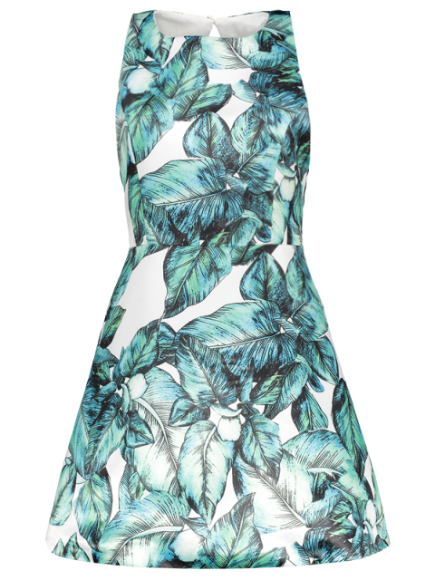 lady Back Stitch Printed A-Line Dress - GREEN XL Mobile