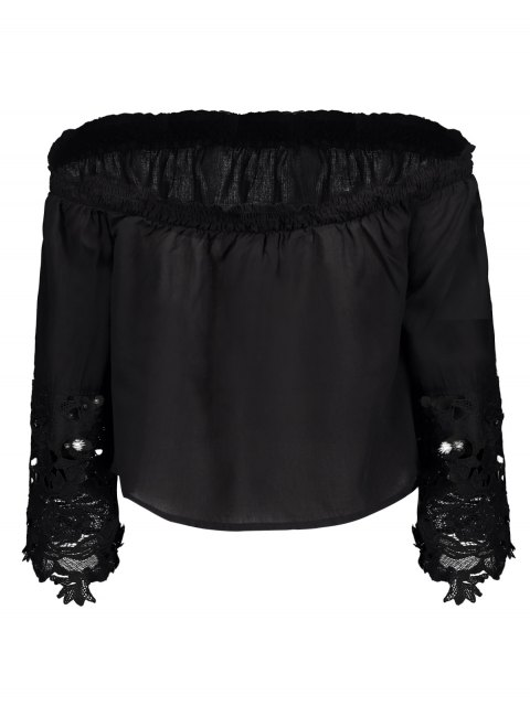 womens Off The Shoulder Lace Bell Sleeve Blouse - BLACK XL Mobile
