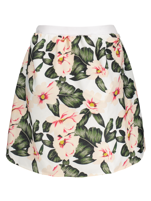 fancy Floral A-Line Mini Skirt - GREEN M Mobile