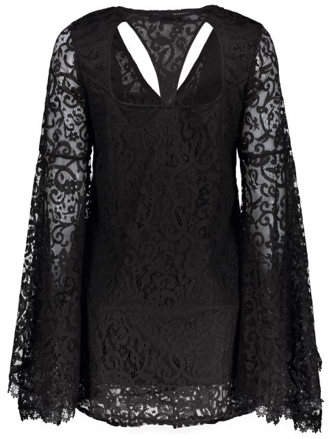 trendy Bell Sleeve Plunge Neck Lace Dress - BLACK L Mobile