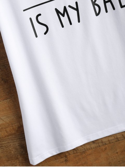 shop Cotton Curled Sleeve Letter T-Shirt - WHITE L Mobile