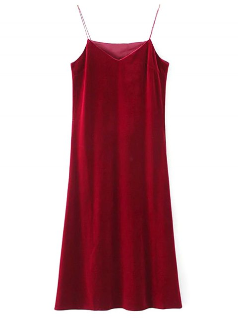 hot Side Slit Velvet Cami Dress - BURGUNDY L Mobile