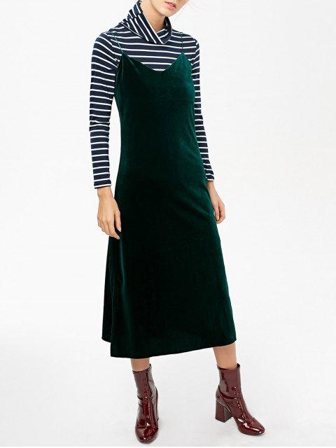 shop Side Slit Velvet Cami Dress - BLACKISH GREEN L Mobile