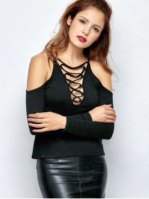 latest Lace-Up Cold Shoulder T-Shirt - BLACK S Mobile