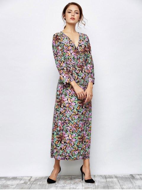 chic Maxi Print Wrap Dress - MULTICOLOR M Mobile