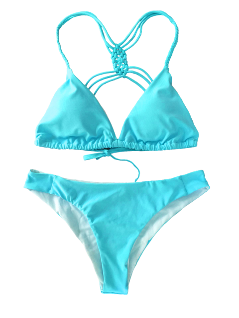 affordable Crosscriss Strappy Bikini Set - BLUE M Mobile