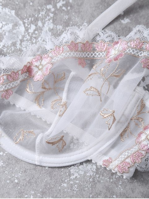 hot Cami See-Through Floral Embroidered Bra Set - WHITE 80B Mobile
